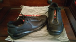 Prada black leather Athletic