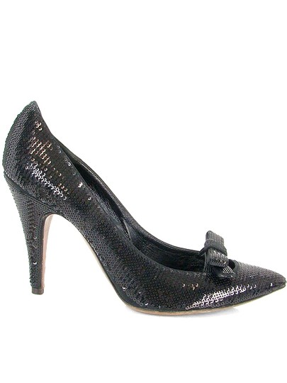 Moschino Seq Sequin Pointed Toe Black Pumps