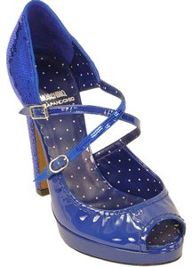 Moschino Sequin Metallic Platform Blue Pumps