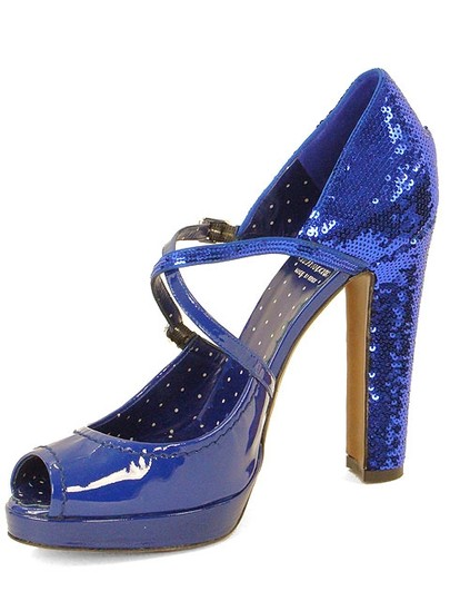 Moschino Sequin Metallic Platform Mary Jane Strappy Sandal Blue Pumps