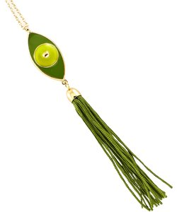 green evil eye tassel necklace