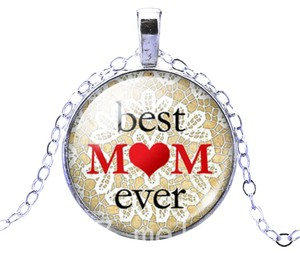 Other Silver Best Mom Ever Glass Charm Necklace