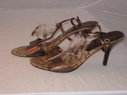 Nine West Bronze leather with feather trim Sandals