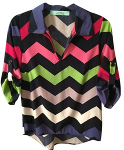 Karlie Chevron Colored Striped Bright Striped Top