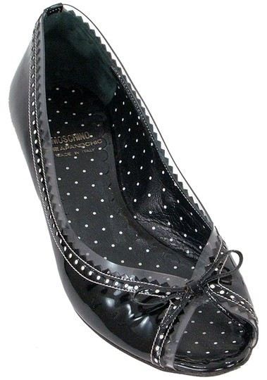 Moschino Perforated Peep Toe Patent Leather Vinyl Polka Dot Kitten Black Flats