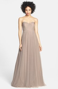 Jenny Yoo Mink Grey Tulle Polyester Annabelle Formal Bridesmaid/Mob Dress Size 0 (XS)