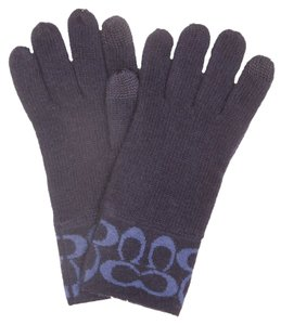 Coach New Coach Signature Knit Gloves - Navy