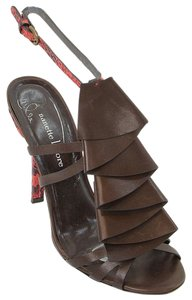 Nanette Lepore Snakeskin Ruffle Slingback Brown, Red Sandals