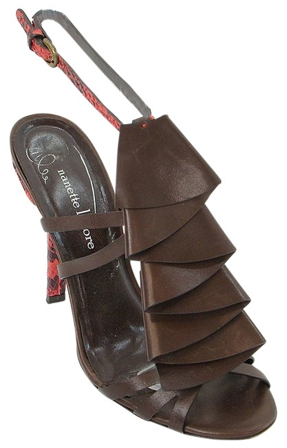 Item - Brown Red Leather Ruffle Sandals Size US 7 Regular (M, B)
