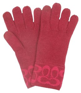 Coach New Coach Signature Knit Gloves - Red