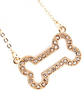 bejeweled golden dog bone necklace