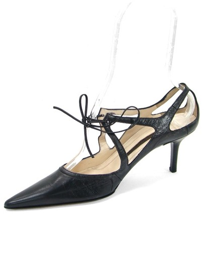 Narciso Rodriguez Pointed Toe Cut-out Kitten Black Pumps