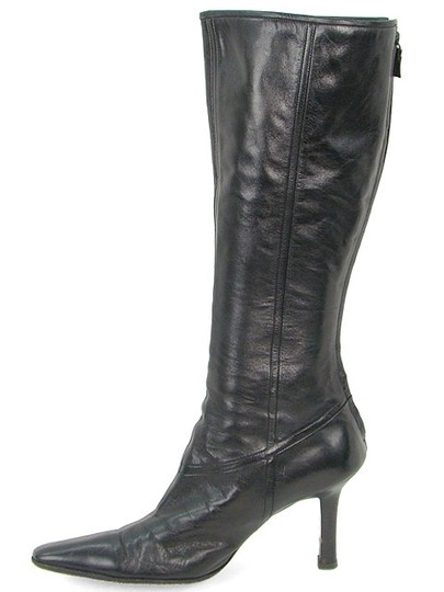 Narciso Rodriguez Knee High Tall Pointed Toe Stiletto Black Boots Image 3