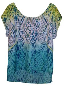 American Eagle Outfitters Pattern Scoop Back Top Yellow, turquoise, blue
