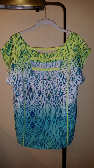 American Eagle Outfitters Pattern Scoop Back Rounded Neck Cap Sleeve Top Yellow, turquoise, blue