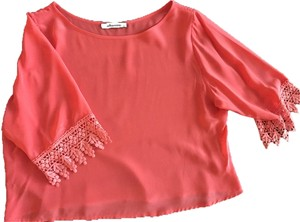 Olivaceous Silk Lace Pink Silk Sexy Pink Top