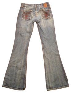 BKE Embroidered Flare Leg Jeans-Distressed