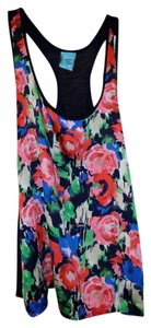 H.I.P. Rayon Rose-like Pattern Y Top Multi colored front, solid navy back