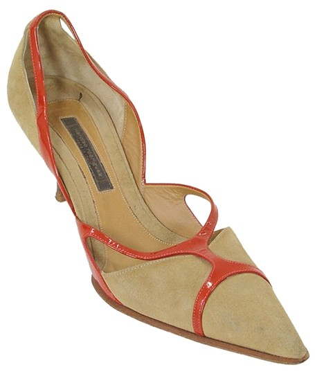 Narciso Rodriguez Pointed Toe Suede Geometric Cut-out Beige, Orange Pumps Image 0