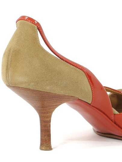Narciso Rodriguez Pointed Toe Suede Geometric Cut-out Beige, Orange Pumps