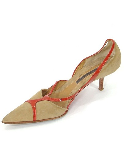 Narciso Rodriguez Pointed Toe Suede Geometric Cut-out Beige, Orange Pumps Image 3