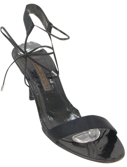 Narciso Rodriguez Satin Strappy Open Toe Black Sandals