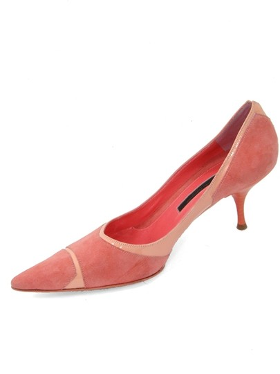 Narciso Rodriguez Pointed Toe Kitten Suede Geometric Pink Pumps