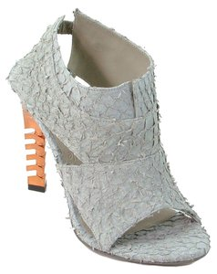 omelle Mule Bootie Fishnet Ankle Stiletto Festival Gray, Orange, Rust Pumps