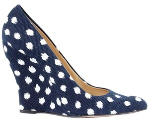 Oscar de la Renta Polka Dot Pump Canvas Festival Nautical Pointed Toe Blue, White Wedges
