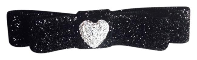 Item - Black and Silver Sparkly Bow with Faux Drusy Heart Button Hair Accessory