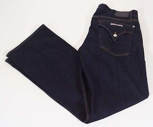 Hudson Signature Ferris Women Dark Blue Linen Stretch Flap Pocket Flare Leg Jeans