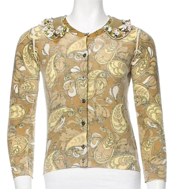 Preload https://img-static.tradesy.com/item/8820667/marc-jacobs-green-tan-and-creme-beaded-cardigan-size-2-xs-0-1-650-650.jpg