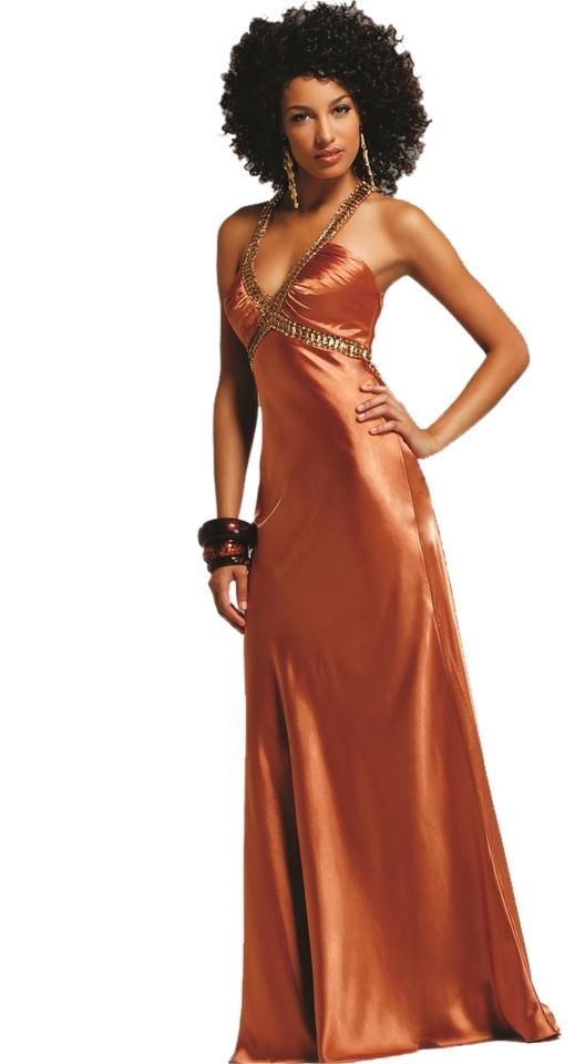 Faviana Copper A-line Gown Brown 6523 Strappy Back Long Formal Dress ...