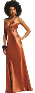 Faviana Brown Golden Long Strappy Silk Gown 6523 Medium Dress
