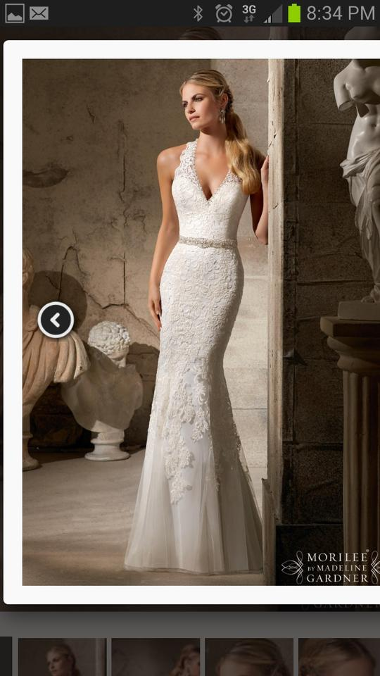 Mori Lee Ivory Satin and Lace By Madeline Gardner Style 2712 Formal ...