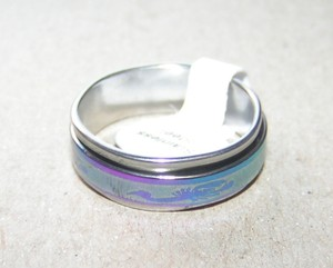 Rainbow Etched Spinning Stainless Unisex Ring Free Shipping