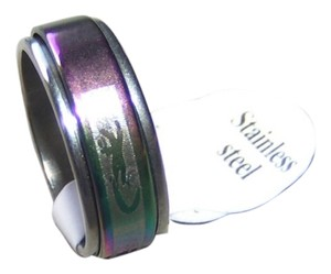 Unisex Rainbow Spinner Stainless Steel Etched Ring Free Shipping