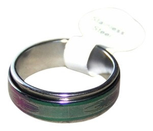 Other Rainbow Stainless Steel Spider Etched Spinner Ring Free Shipping