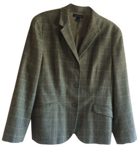 Lands' End Wool Cashmere Plaid Blazer