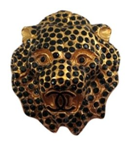 Chanel 01 A Black Crystal Paris Leo Lion CC Brooch & Pendant