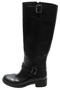 Prada Knee Leather Buckles Black Boots