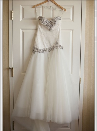 Pnina Tornai Off White French Chantilly Lace Tulle Swarovski Crystal Customize Gown Modern Wedding Dress Size 2 (XS) Image 3