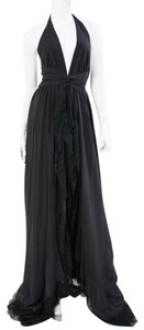 Carmen Marc Valvo Full Length Halter Waterfall Lace Ruffle Gown Dress