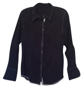 Georg Roth Los Angeles Shirt Embroidered Button Down Collar Top Navy w/white & navy sequin