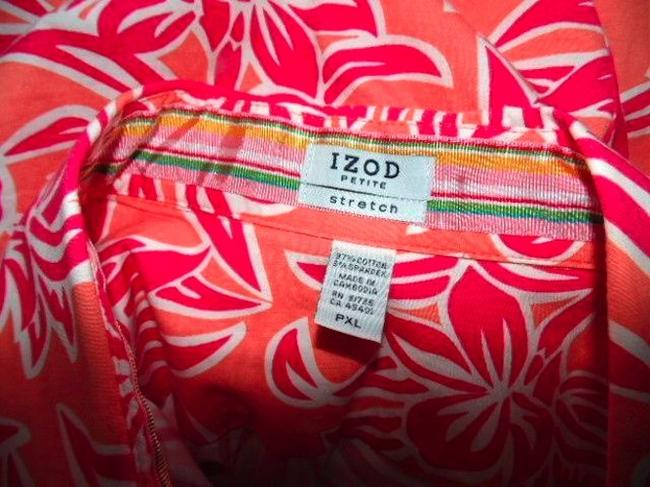 Izod Blouse Shirt Size X-large Floral Summer Spring 3/4 Sleeves Career Business Casual Cute P479 Button Down Shirt PINK, ORANGE, WHITE