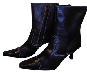 David Aaron Leather Black Boots