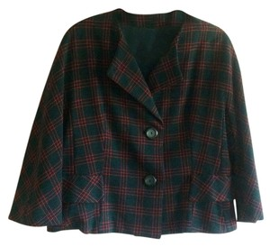 Rudy Possibly Vintage Wool 100% Wool Size 12 Jacket Red, Black, and Forest Green Plaid Blazer