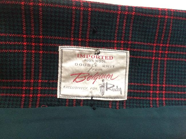 Rudy Possibly Vintage Wool Wool Size 12 Jacket Red, Black, and Forest Green Plaid Blazer Image 1