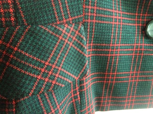 Rudy Possibly Vintage Wool Wool Size 12 Jacket Red, Black, and Forest Green Plaid Blazer Image 2