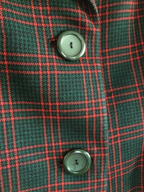 Rudy Possibly Vintage Wool Wool Size 12 Jacket Red, Black, and Forest Green Plaid Blazer Image 3